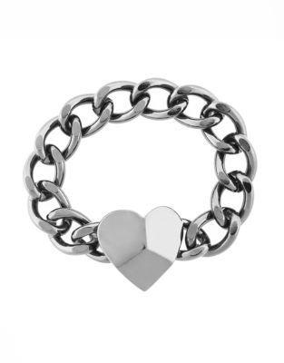 BCBGeneration Chain & Heart Pendant Bracelet in Silver-Tone