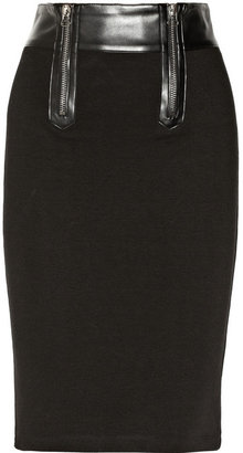 Balmain Pierre Faux leather-trimmed stretch cotton-blend skirt