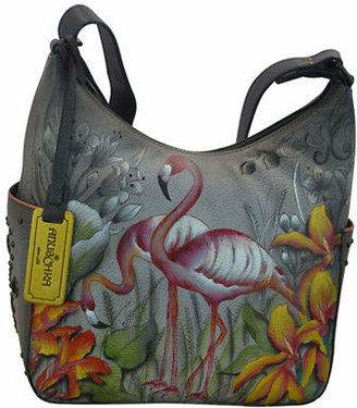 Anuschka Classic Flamingo Leather Hobo Bag