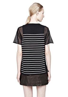 Alexander Wang Short Sleeve Sheer Panel Stripe Tee