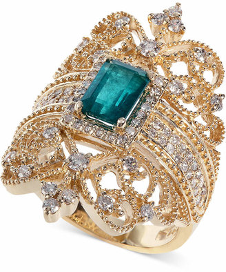 Effy Brasilica by Emerald (9/10 ct. t.w.) and Diamond (3/4 ct. t.w.) Ring in 14k Gold, Created for Macy's