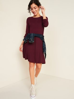 Old Navy Plush-Knit Long-Sleeve Swing Dress for Women