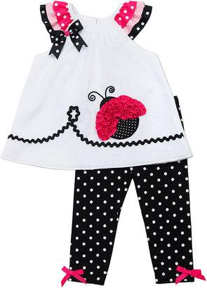 Rare Editions Baby Girls' 2-Piece Ladybug Top & Leggings Set