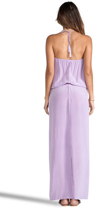 Indah Roo Silk Crepe Long Strapless Maxi Dress With Adjustable Waist and Tie Top