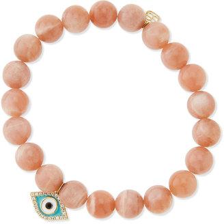 Sydney Evan Rainbow Moonstone Beaded Bracelet with Diamond Evil Eye