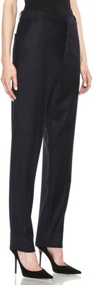 BLK DNM Dropped Crotch Flat Front Wool Pant in Navy Blue Pinstripe