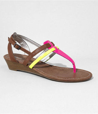 Express Mixed Finish Double T-Strap Wedge Sandal