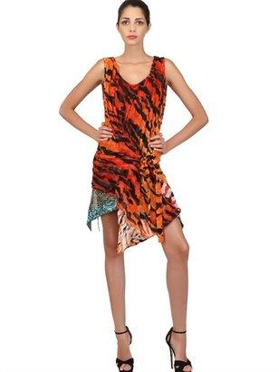 Just Cavalli Tiger Devoré Print Velvet Dress