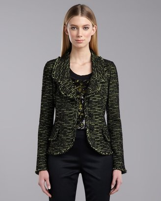 St. John Stretch Tweed Knit Jacket, Neon/Multicolor
