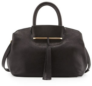 Brian Atwood Gloria Small East/West Leather Tote Bag, Black