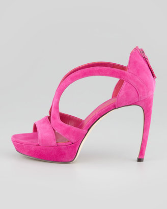 Alexander McQueen Armadillo Low-Heel Double-Arched Suede Sandal, Pink