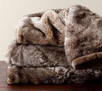 Pottery Barn Faux Fur Throw - Caramel