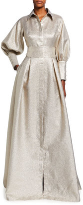 Rickie Freeman For Teri Jon Metallic Jacquard Bishop-Sleeve Shirtdress