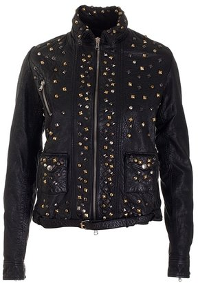 MEATPACKING D. - Black worn leather studded jacket