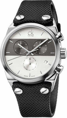 Calvin Klein Chronograph Eager Collection Stainless Steel Leather Material Strap Watch