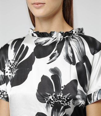 Reiss Eleana PRINTED TOP WITH FRILL COLLAR