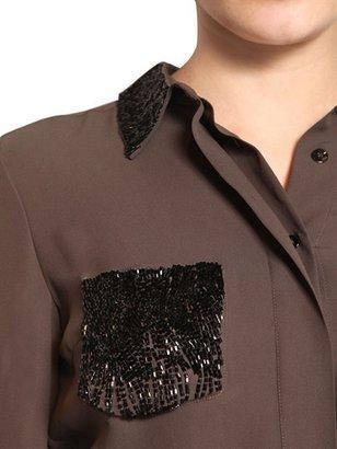 Viktor & Rolf Embroidered Silk Crepe De Chine Shirt