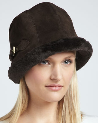 Eric Javits Faux-Shearling & Suede Hat, Brown