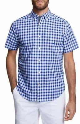 Nautica Short-Sleeve Gingham Classic Fit Stretch Poplin Shirt