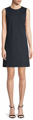 Theory Pinstriped Vent Front Sheath Dress
