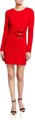 ONE33 SOCIAL Knotted-Cutout Long-Sleeve Short Crepe Dress