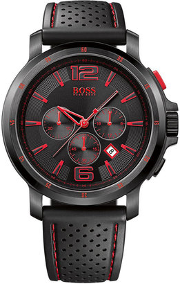 Hugo Boss Watch, Men's Chronograph Black Perforated Rubber Strap 1512597