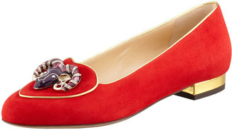 Charlotte Olympia Birthday Aries Zodiac Suede Smoking Slipper, Red