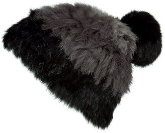 Marc by Marc Jacobs Black and Grey Fur Beanie