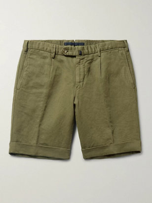 Incotex Slim-Fit Linen and Cotton-Blend Shorts - Men - Green