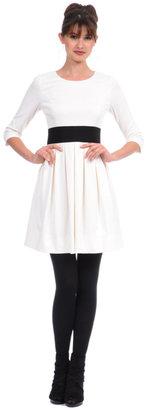 Phoebe Couture Three-Quarter Sleeve Ivory Grograin Belt Dress