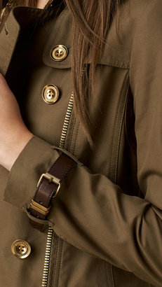 Burberry Mid-length Leather Detail Trench Coat