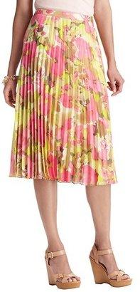 LOFT Floral Print Pleated Mid Length Skirt