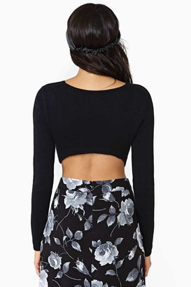 Nasty Gal Let It Be Crop Sweater - Black