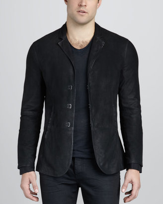 John Varvatos Suede Hook-and-Bar Jacket
