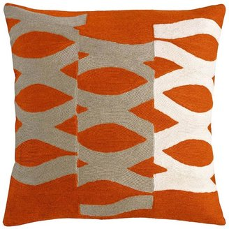 Judy Ross Textiles - DNA 18x18 Chain Stitch Pillow Coral