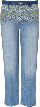 Vanessa Bruno Blue Embroidered Boyfriend Jeans