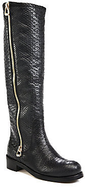 Jimmy Choo Doreen Snake-Embossed Leather Knee-Hight Boots