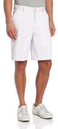 Izod Men's Flat Front Plaid Golf Short, White, 30W