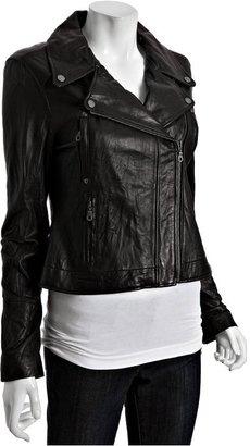 DKNY black washed leather motorcycle jacket