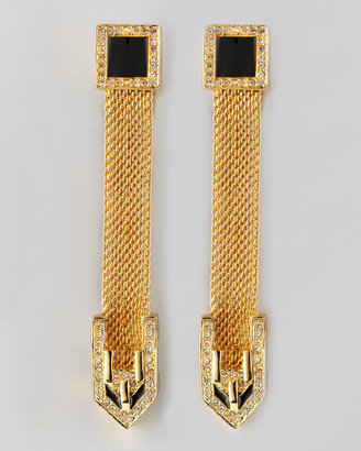 Rachel Zoe Long Snake Chain Drop Earrings
