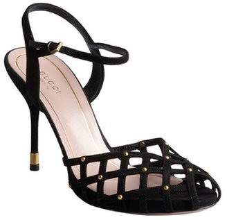 Gucci black suede caged peep-toe ankle strap sandals