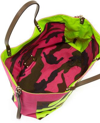 Valentino Rockstud Camo Foulard Tote Bag, Pink