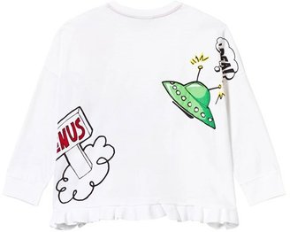 Fendi White Frill Monster Print Long Sleeve Tee