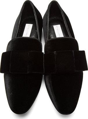 Stella McCartney Black Velvet Bow Loafers