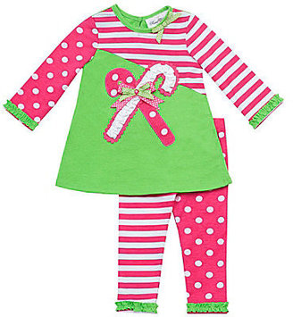 Rare Editions 3-24 Months Candy Cane Holiday Top & Leggings Set