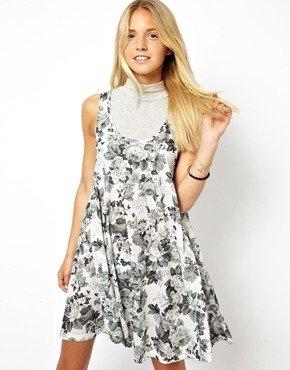 Asos Swing Dress In Floral Print - White