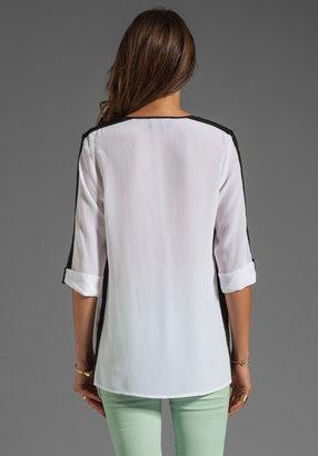 Akiko Colorblock Top in White/Black