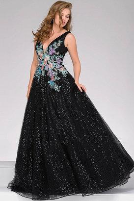 Jovani V-Neck Embroidered Prom Ballgown 41660