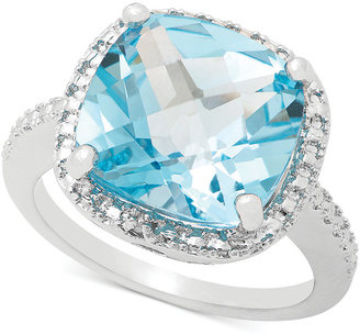 Townsend Victoria Blue Topaz (9 ct. t.w.) and Diamond Accent Ring in Sterling Silver