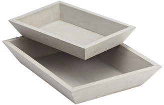 Container Store Whitewashed Wood Tapered Trays